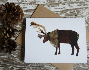Caribou Greeting Card of Original Collage