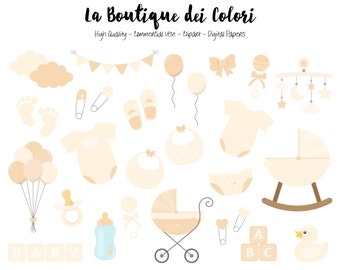White Baby shower Clipart, Cute Graphics , Scrapbook Invitation cream new baby boy - girl nursery Clip art, Planner Stickers Commercial Use