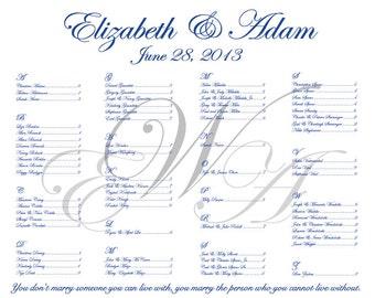 3 Monogram Elegant Wedding Seating Chart