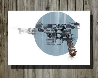 Star Wars han solo blaster print movie poster minimalist poster geek art print sci fi print