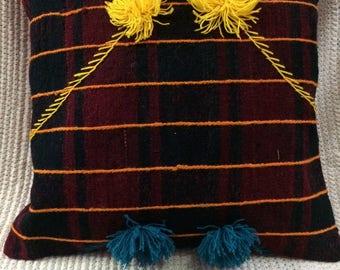 rug design pillow,sofa pillow,two yellow ponpon pillow, two blue ponpon pillow,striped pillow