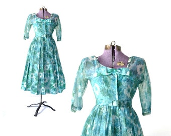 1950s Dress Vintage Dress 50s Dress 1950s Party Dress 50 Dress Blue  Rockabilly Dress Retro Dress Chiffon Dress 1950s Clothing small dress