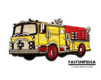 Yellow Fire Engine Rescue Truck Embroidered Iron On Patch Heat Seal Applique Sew On Patches