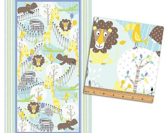 Zoo Baby Panel 23In X 44 In ~Chldren'S Cotton Fabric By Bennartex