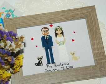 Custom new family portrait Personalized couple portrait Cotton Anniversary Gift Custom Wedding gift for daughter 2nd Anniversary