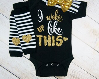 Baby Girl Clothes Hipster, Baby Girl Gift Set Gold Black Baby Headband Leg Warmer Baby Girl Outfit I Woke Up Like This Newborn Toddler