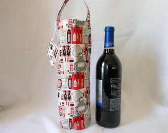 wine tote with barbecue theme, chef's cooking utensils gift bag, birthday gift for him or her who loves to cook outdoors, picnic bag