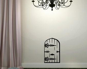 Fairy Door Vinyl Wall Decal - Vinyl Lettering Wall Words Decal Princess Decor Girl Bedroom Playroom Decal