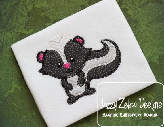 Skunk 15 Appliqué embroidery design with Square Diagonal Stitching - skunk appliqué design