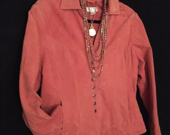 Pink Suede Snap Front Jacket   VG204