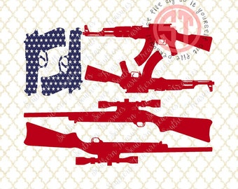 American Flag Guns Editable vector Cut File .eps .ai .svg and .pdf formats included INSTANT download