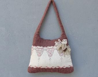 Lace and Felt Bag, Cream and Rose Purse