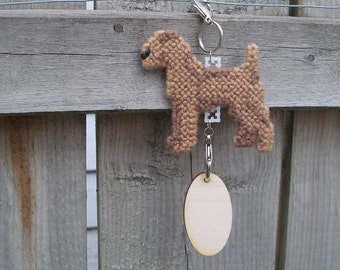 Irish Terrier dog home decor crate tag hang anywhere, hand stitched needlepoint, Magnet option
