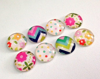 Sunny Days - set of 8 glass magnets - fun and colorful