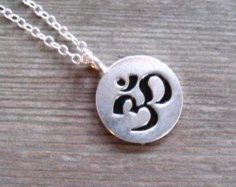 Om Necklace, Sterling Silver, Namaste Necklace, Yoga Jewelry, Spiritual Necklace, Inspirational Jewelry, Yoga Pendant