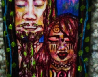 Moon God And Goddess  Merging Colored Pencil And Pen Bookmark