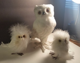 Vintage Family Owls/ Collectible/Figurine/Statue/Home Decor Animal/Gift/Toy Owls