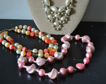 NECKLACES Set of Three Vintage Choker or Shorter Necklaces Pink, Coral, Cream