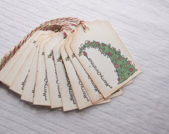 Christmas Tree Tags set of 10 - T207