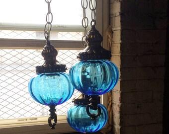 Blue Mid Century Hanging Light, 1970s Hanging Light, 3 Light Pendant