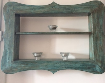 Shelves with weathered wood frame