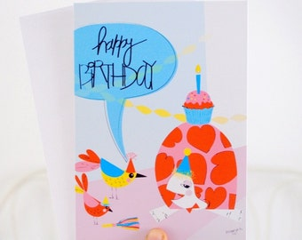 Girl birthday cards - Turtle birthday card -  illustrated card - kids birthday cards - handmade card - Blank card - Pink greeting card