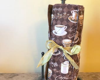Unpaper Towels, Paperless Towels, Snapping Towels, Reusable Paper Towels with Matching Wetbag---Coffee