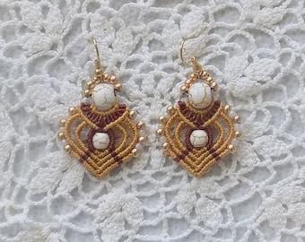 Micro-Macrame Beaded Earrings Gold & Mahogany