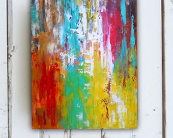 LG Abstract painting colorful abstract on stretched canvas living room art kitchen art bedroom art dining room art nursery art FREE SHIPPING