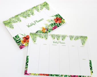Weekly Planner - A4 Height Green Floral