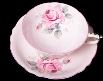 1930's Pink Paragon Teacup and Saucer featuring Dark Pink Trim, Gold Gilding And Large Pink Roses
