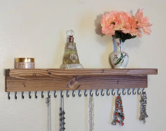 Jewelry Organizer - Necklace Holder -  Storage - All Natural Rustic Wood - 24 Display Hooks - Ready To Hang - Screws Included.
