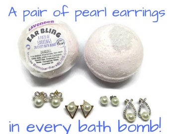 Aromatherapy Bling Ear Bath Bomb - Mothers Day Gifts - Jewelry In Bath Bombs - Bling Bath Bomb - Pearl Earrings - Gifts for Her - Studs