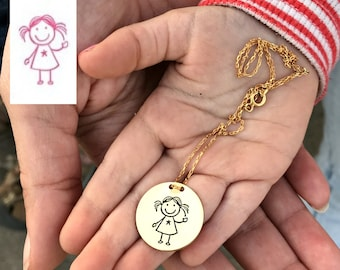 Mothers Day Gift - Actual Child Drawing Necklace - Kids Drawing Jewelry -  Drawing Into Jewelry - Kids Writing - Gift for Wife - Mom Gift