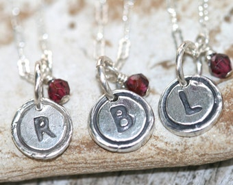 Tiny Initial Necklace in Sterling and Fine silver with little garnet gem or can be switched to a Pearl