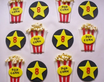 12 MOVIE  PopcornTheme Edible Fondant Cupake Toppers