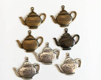 Tea pot charms, brass stampings teapot stamings  tea charms Qty. 7