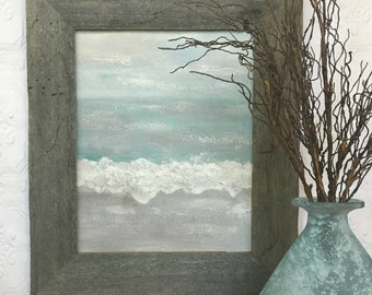 Abstract beach painting, canvas print, optional barnwood frame