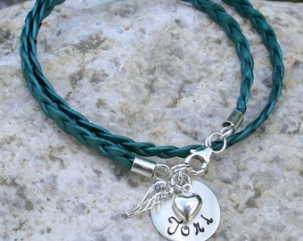 Angel Wing and Heart Sterling Silver Double Wrap Name/Word Bracelet