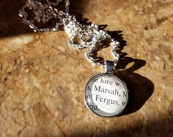 Outlander Fergus and Marsali book page pendant necklace