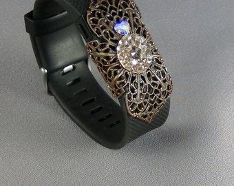 Fit Bit Slide, Jewelry - Swarovski Golden Shadow Rocks Crystal, Natural Brass Clover Petal Filigree, Wrapped - Hand Crafted Artisan Jewelry
