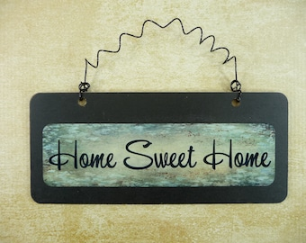HOME SWEET HOME Sign Wooden Metal Cute Small Wire Hanging Front Door Sign Black Green