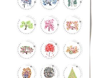 CALENDAR 2017 poster - Love Birds and Trees of Life - wall art calendar gift, print Holidays circle style
