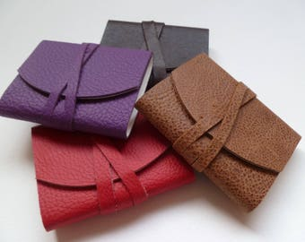 4 x MINI Leather Journals Leather Notebooks Leather Books. Red. Dark Brown. Purple. Speckled Brown.