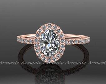 Halo Oval Engagement Ring / Moissanite Engagement Ring / 14K Rose Gold Diamond Wedding Ring / Forever Brilliant Oval Cut Moissanite /