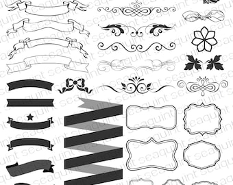 Ornate Banner Clipart, Frame Clipart, Border Clipart, Ribbon Clipart, Wedding Clipart PNG & Vector EPS, AI Design Elements Instant Download