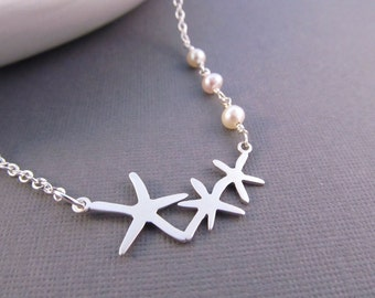 Starfish Necklace, Silver Sea Stars with Freshwater Pearls, Pendant Necklace, Beach Wedding,  Strand Necklace, Fashion Jewelry