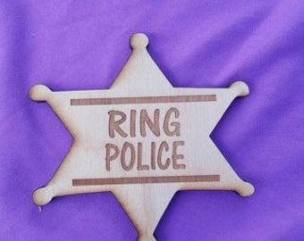 ELH3 Wood Ring Bearer Badge Rustic Wedding Ring Barer Lord of the Rings Ring Police Ring Security country wedding