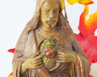 "Vintage Brown SACRED HEART of JESUS Statue / 9"" Tall - Figure -Sculpture of Christ w Flaming Sacred Heart / Origin Unknown"
