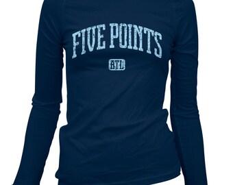 Women's Five Points Atlanta Long Sleeve Tee - S M L XL 2x - Ladies' Atlanta T-shirt, ATL, Georgia - 3 Colors
